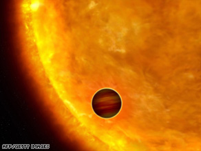 An artist's impression shows a planet passing in front of its parent star. Such events are called transits.