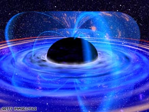 This image shows an artist's impression of a supermassive black hole at the center of galaxy MCG-6-30-15.