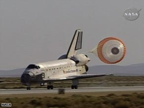 The space shuttle Atlantis touches down at Edwards AFB on Sunday.