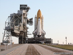 Space shuttle Endeavour is rolled out to its launch pad at the Kennedy Space Center.