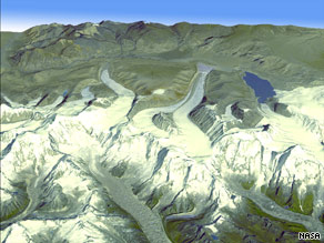 This image using ASTER imagery shows the Himalayan glaciers in Bhutan.