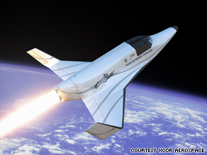 Virgin Galactic's suborbital vehicle, portrayed in this rendering, could be ready commercially in two years.