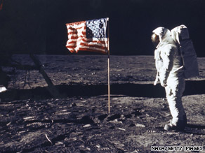 Hoax theorists also say Buzz Aldrin appears to be lit in this NASA image when he should be in shadow.