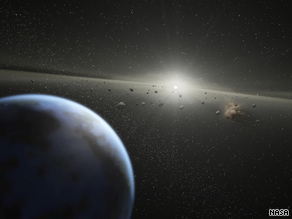 This NASA artist's rendering shows a massive asteroid belt orbiting the Earth.