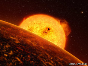 An artist's impression shows what the planet may look like in close orbit with its sun.