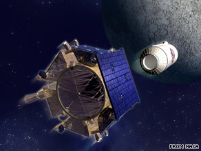 An artist's rendering shows the LCROSS spacecraft, left, separating from its Centaur rocket.