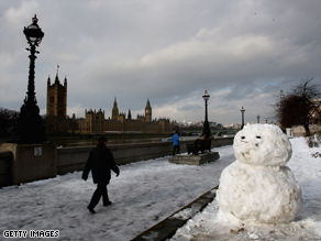The snowmen who populated London during the heaviest snowfall in 18 years are looking worse for wear.