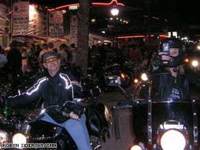 "A motorcyclist rides the infamouss ""Wall of Death"" at the Iron Horse Saloon in Daytona Beach."