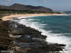 Water rushes toward the shore at Sandy Beach Park in Honolulu, Hawaii.