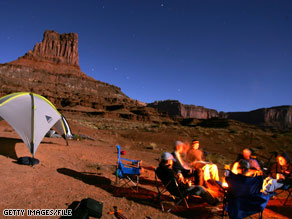 Camping is a cheap travel alternative to staying in a hotel.