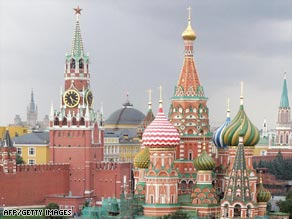The iconic domes of Moscow's St. Basil's Cathedral.