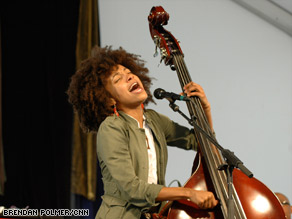 Bassist and vocalist Esperanza Spalding performed at this year's New Orleans Jazz Fest.