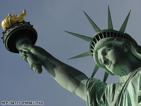 The Statue of Liberty welcomes visitors, immigrants, and returning Americans.