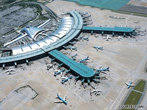 Seoul's Incheon, pictured, edged out Hong Kong's International Airport and Singapore's Changi Airport.