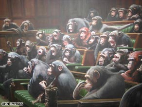A Banksy painting of the British House of Commons at the Bristol museum surprise exhibition.