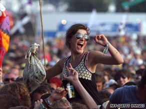 A fan shows her appreciation at the Glastonbury music festival.