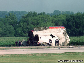 Part of a United Airlines DC-10 lies next to the runway in Sioux City, Iowa, after the plane crashed in July 1989.