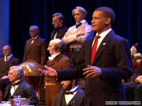 "The President Obama audio-animatronic figure ""speaks"" at the Hall of Presidents exhibit at Disney World."