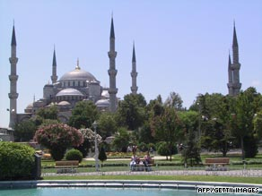 The Blue Mosque, famed for its blue tiled interior, rises above Sultanahmet Park in the Old City of Istanbul.