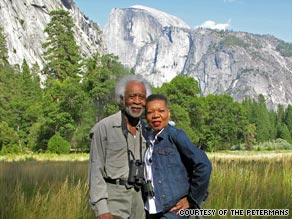 Frank and Audrey Peterman stop in front of Half Dome in Yosemite National Park in California.
