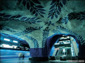 You can't miss the art at metro stations like T-Centralen on the blue line.