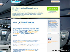 JetBlueCheeps on Twitter alerts followers of last-minute deals on JetBlue.