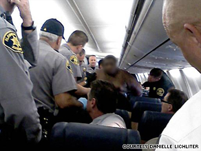 When passengers get unruly, crew sometimes have to restrain them with plastic handcuffs or tape.