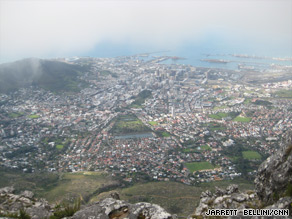 The sweeping view of Cape Town is worth the climb up Table Mountain.