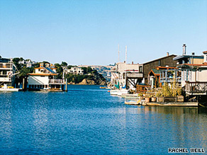 Waldo Point Harbor is one of several scenic houseboat communities in Sausalito.