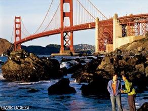 The Golden Gate Bridge anchors one leg on the Presidio's shores.