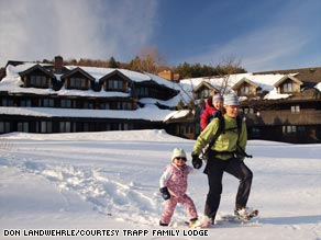 Snowshoeing is a popular alternative to downhill skiing at Trapp Family Lodge in Stowe, Vermont.