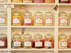The shelves at Hope and Greenwood, in Covent Garden, are filled with glass jars brimming with British sweets.