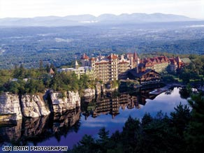 Mohonk's ice-skating pavilion, completed in 2001, overlooks Lake Mohonk.