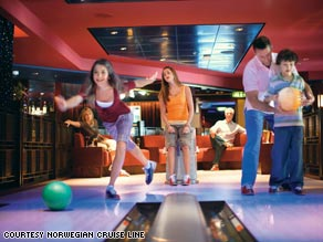 A family bowls on a Norwegian cruise ship. Many companies are offering discounts and credits for spring travel.
