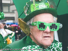 Harvey Losh felt and showed his Irish spirit as he marched in a Seattle St. Patrick's Day parade.