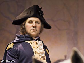 At the museum at Mount Vernon, the 45-year-old future president is depicted riding in Valley Forge.