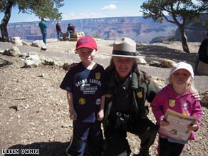 Ethan and Hannah Sitzman proudly show off their National Park Junior Ranger badges.