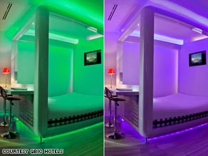 Qbic hotels have a clever lighting concept -- Deep Purple Love, anyone? You can pick the color you like, or turn them off altogether.