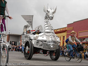 A dragon made of aluminum scrap was one of the entries in 2008's Kinetic Grand Championship in California.