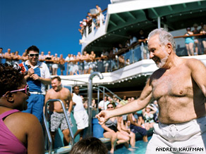 The winner of the hairy chest contest shows off his goods on the Carnival Destiny's lido deck.