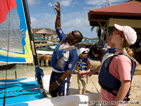 Young visitors learn to sail at the Bitter End Yacht Club in the British Virgin Islands.
