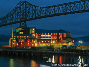 The Cannery Pier Hotel was built on the site of a fish-packing facility on the Columbia River.
