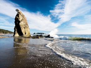 Olympic National Park includes ocean beaches and rain forest valleys and glacier-capped mountains.