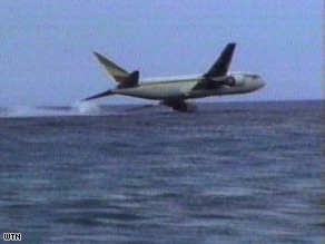 An Ethiopian Airlines Boeing 767 is seen just before it crashes into the sea off the Comoro Islands in 1996.