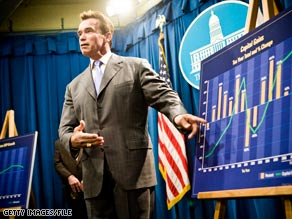 California Gov. Arnold Schwarzenegger makes a point on the state budget in November.