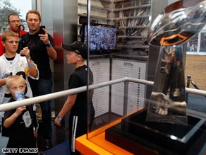 Fans take in the sights Thursday at the NFL Experience at Raymond James Stadium in Tampa, Florida.