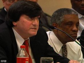 Pierre Jean-Jacques Renelique, right, and his attorney, Joseph Harrison, at the hearing.