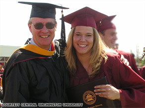 Rebecca Shaw, shown with Professor Dale Wilson, graduated from Central Washington University in 2007.