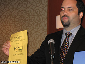 "NAACP's Benjamin Todd Jealous says the  organization will take issue ""national"" if Post cartoonist isn't fired"