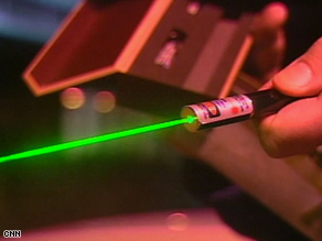 "High-powered lasers can cause temporary blindless for pilots -- their use has been called ""a form of vandalism."""